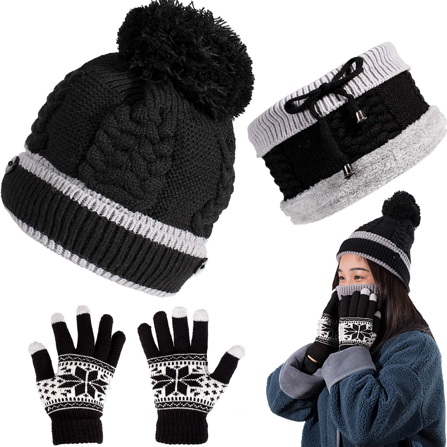 Whaline Knit Beanie Hat Scarf Gloves Set Touch Screen Snowflake Gloves Women Slouchy Mitten Set with Fleece Lined