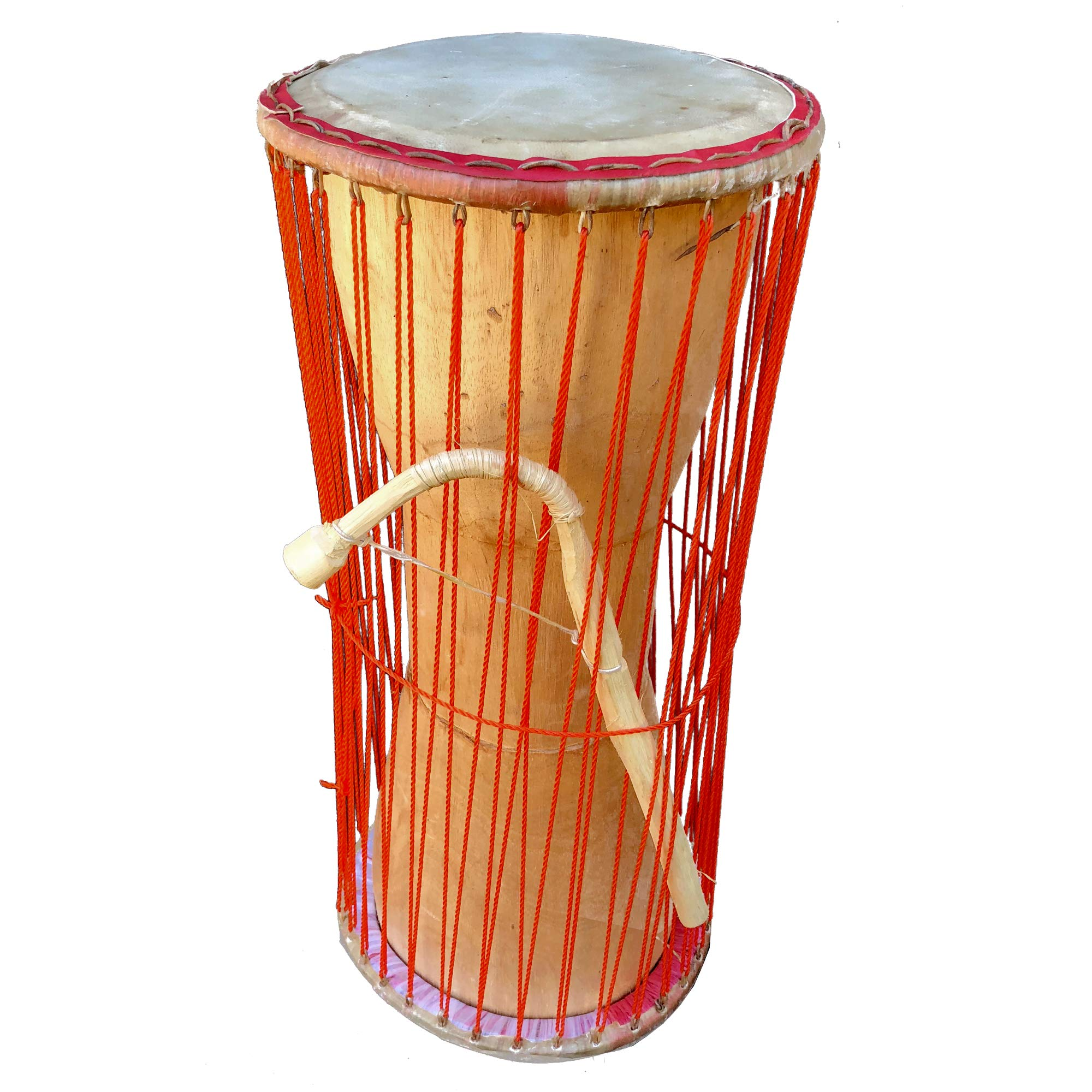 Classic Heartwood Dondo Talking Drum 7x15, African Talking Drum with Curved Stick - Ghana by Africa Heartwood Project