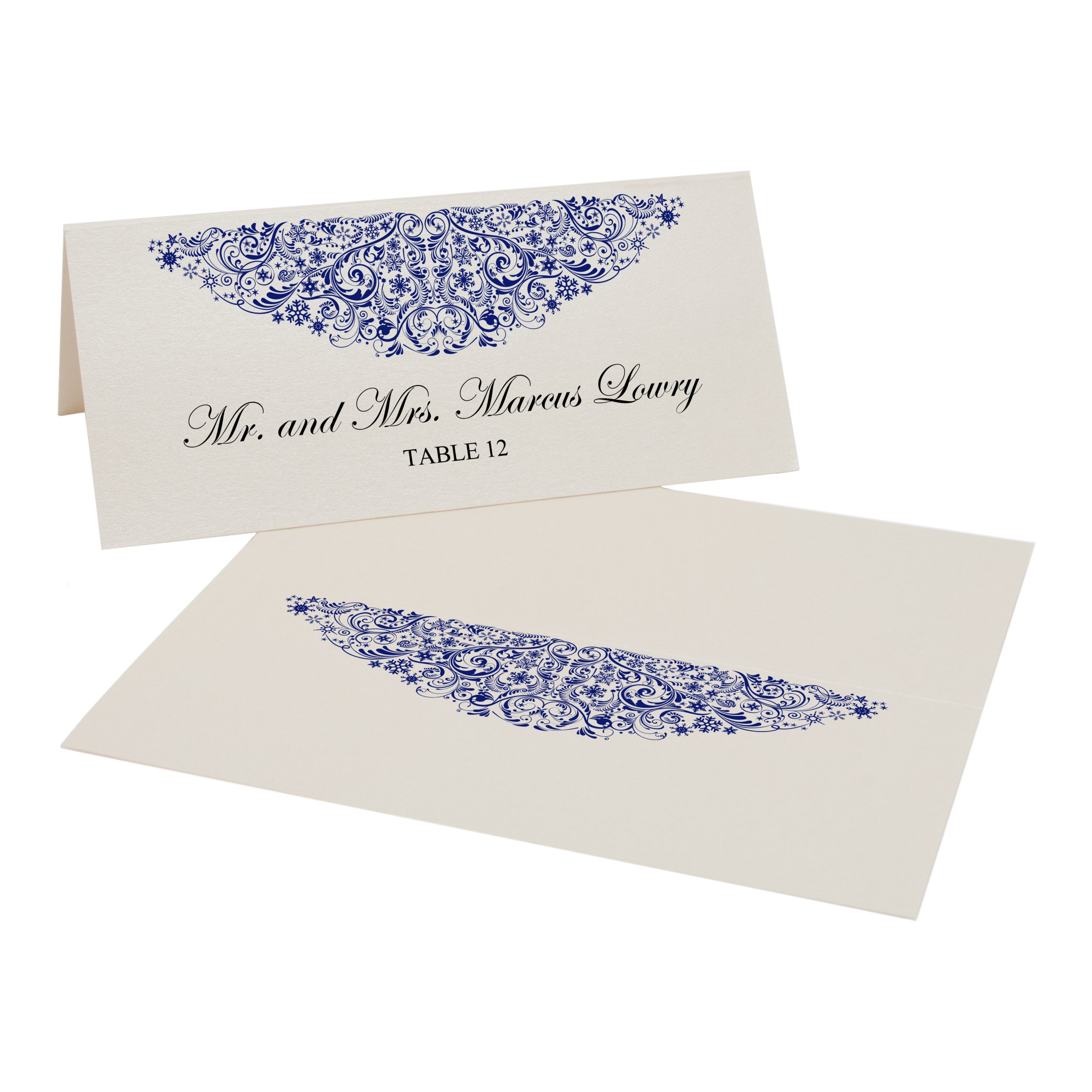 Vintage Snowflake Flourish Easy Print Place Cards, Champagne, Navy, Set of 350 (88 Sheets) by Documents and Designs
