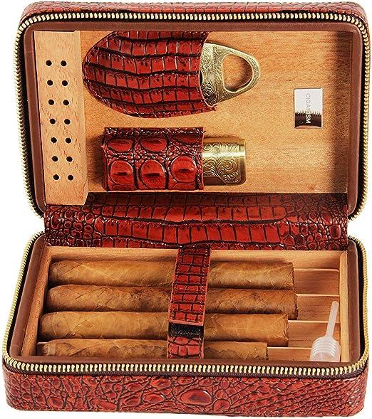 ZXL Caja de Puros, humidor Caja de Puros Juego de cigarros de Madera de Cedro Humidor portátil de Cuero Tijeras de Puros Juego de Puros: Amazon.es: Hogar