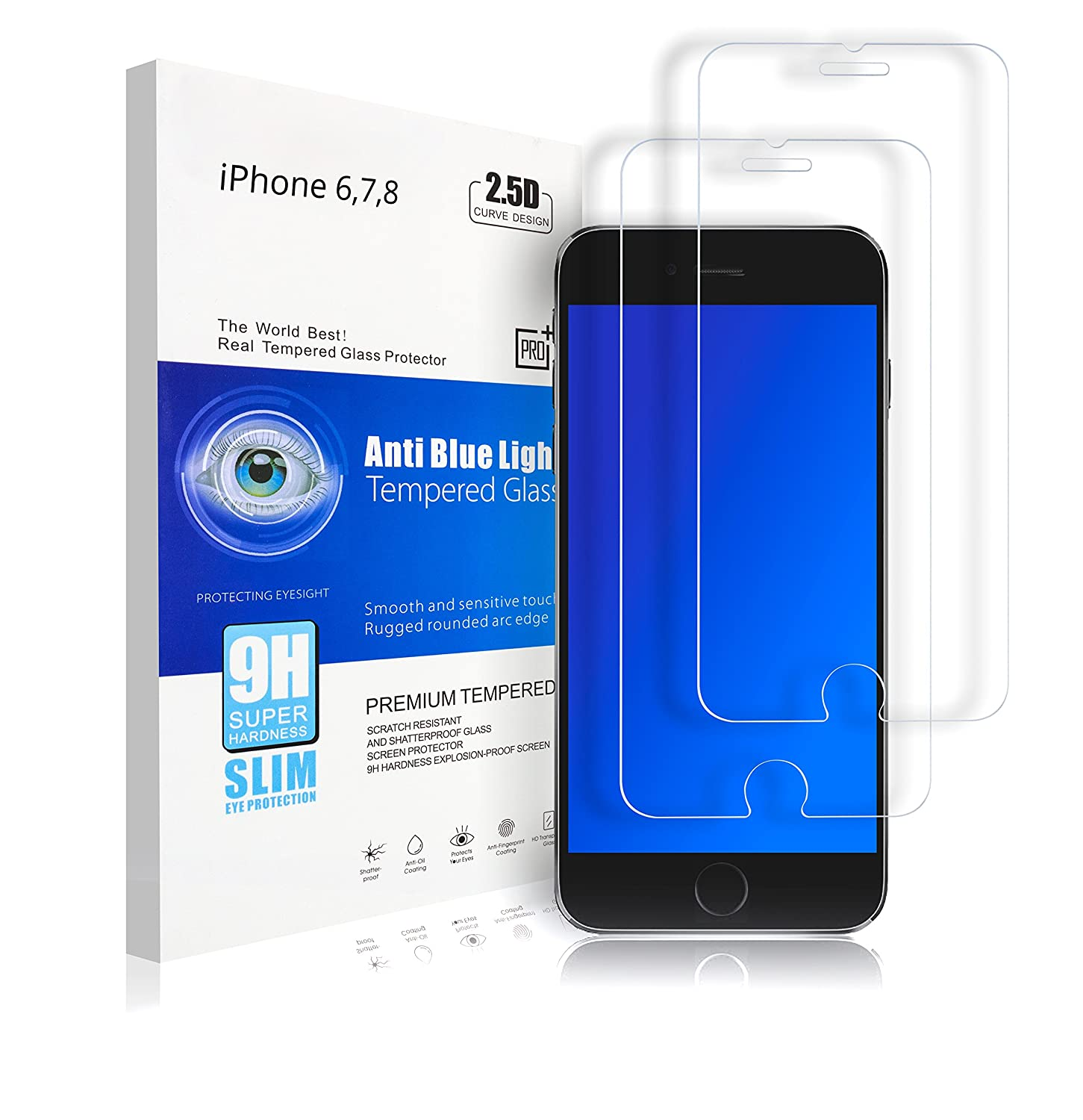 A-Z Super Store iPhone 6,7,8 Premium HD Tempered Glass Screen Protector, Scratch Resistant, Shatter Proof, Anti-Oil Coating, Anti- Fingerprint Coating, Blue light Protection, 9H [.26mm Thick] (2 Pack)