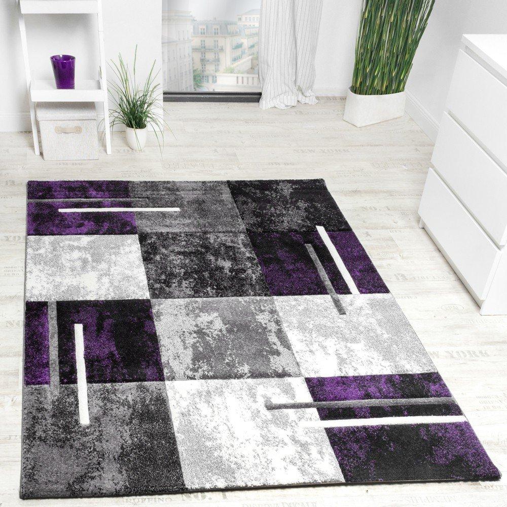 PHC Designer Teppich Modern Konturenschnitt Meliert Karo Muster Lila Grau Schwarz, Grösse 200x290 cm
