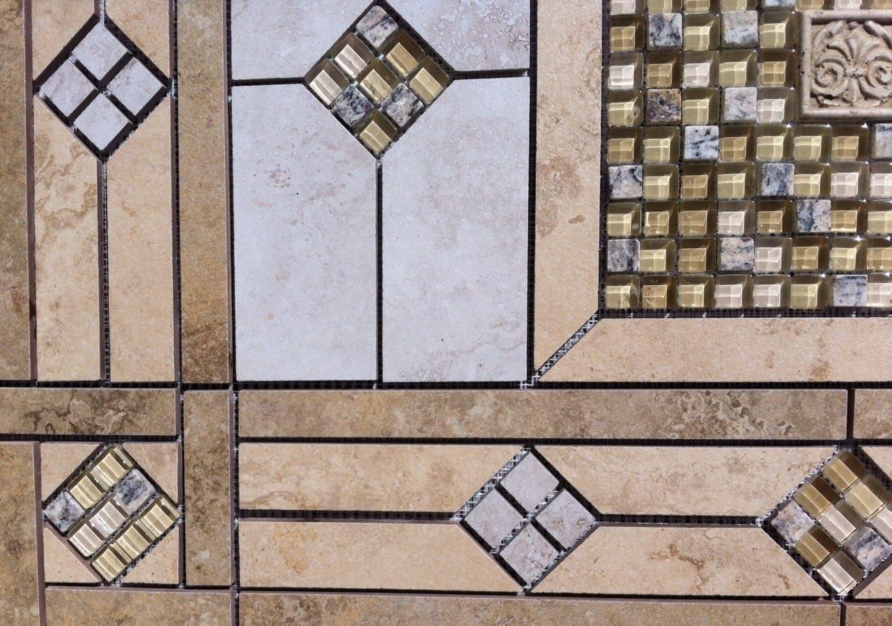 32 x 20 34 Tile Medallion Deco Daltile Sandalo /& glass pieces