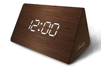 Bashley - Reloj Digital de Escritorio con Alarma de Madera LED, triángulo, Moderno,