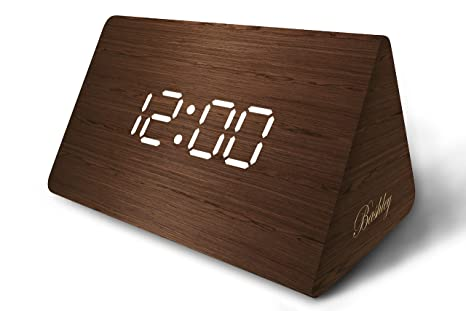 Amazon.com: Modern Triangle Wood LED Wooden Alarm Digital Desk Clock with Date and Temperature Sound Control Desk Alarm Clock for Kids Bedroom, Home, ...