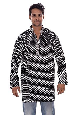 7d32726083a55 Indian Men s Kurta Shirt Multi Black   White Color 100% Cotton Triangle Print  Plus Size