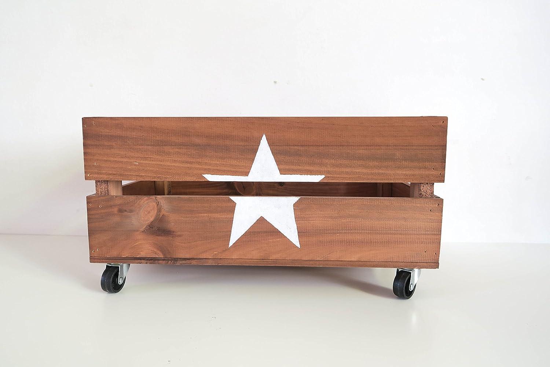 Caja de madera decorativa con ruedas. Hecha a mano artesanalmente. Ideal para decoración del hogar. 50x30x21: Amazon.es: Hogar