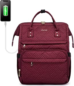 LOVEVOOK Backpack Women Laptop Bag Plait Laptop Backpack Computer Bag Work Bag Backpack Purse Bookbag with USB Charging Port and Luggage Strap,Plait Red Wine