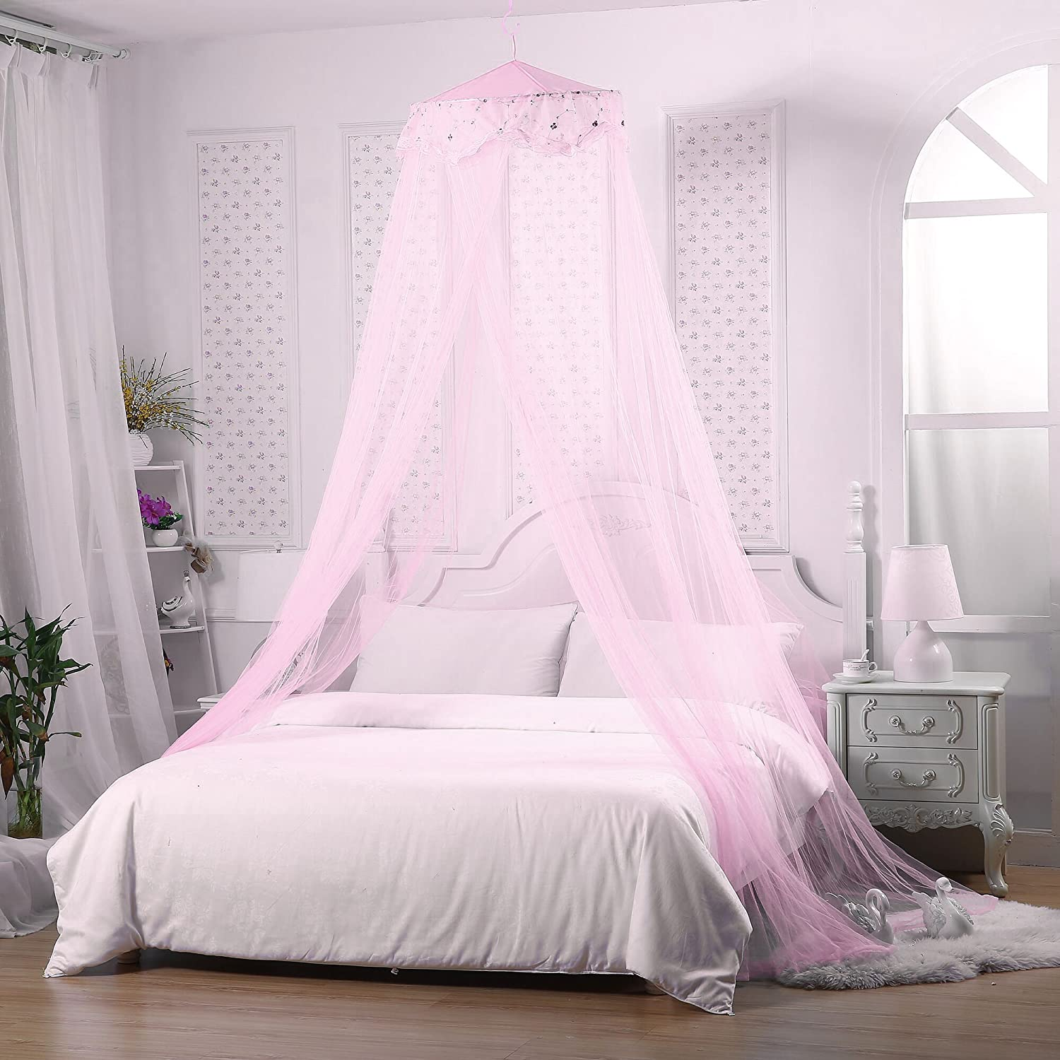 most popular price reduced latest fashion Jeteven Girl Bed Canopy Lace Mosquito Net for Girls Bed, Princess Play Tent  Reading Nook Round Lace Dome Curtains Baby Kids Games House (Pink)