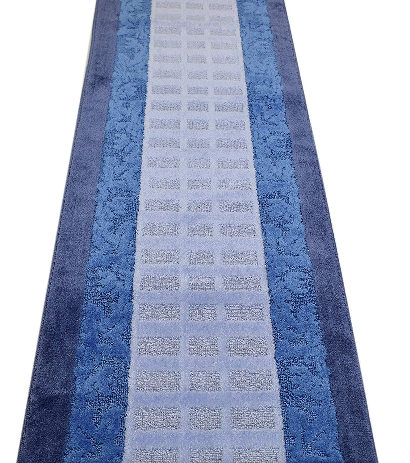 ORFA HOME Custom Size Leaves Hallway Runner Rug Slip Resistant, 26 Inch Wide x Your Choice of Length Size, Blue, 26 Inch X 24 feet