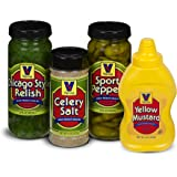 Vienna Chicago-Style Condiment Kit (1 Jar Yellow Mustard, 1 Jar Green Relish, 1 Jar Sport Peppers, 1 Jar Celery Salt)