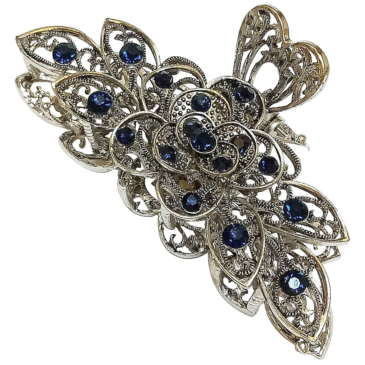 Vintage Chic Metal Alloy Rhinestone Large Size Fancy Hair Claw Jaw Clips Pins - Women Fashion Retro Flowers Hair Catch Barrette Hair Updo Grip Hair Accessories for Thick Hair (A#)