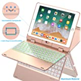 Keyboard Case Compatible with iPad 2018 (6th Gen)/2017 (5th Gen)/Pro 9.7/Air 2 & 1 | Double-Rotating Hinge & Aluminum Keyboard/Case | Colorful Backlit Keys & Long Working Time (Rose)