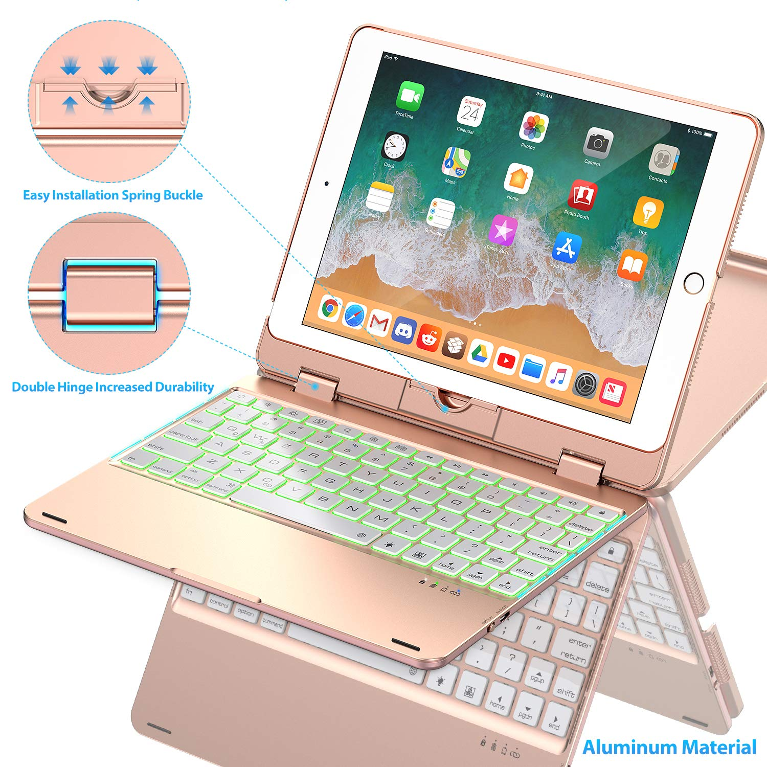 Phixnozar F1 Keyboard Case Compatible with iPad 2018 (6th Gen)/2017 (5th Gen)/Pro 9.7/Air 2 & 1 | Double-Rotating Hinge & Aluminum Keyboard/Case | Colorful Backlit Keys & Long Working Time (Rose Gold)
