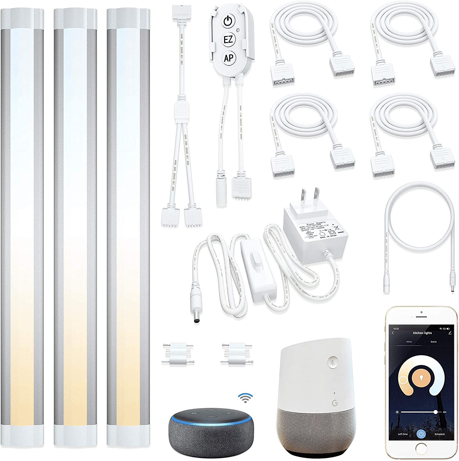 TUYA Smart WIFI LED Under Cabinet Lights Kitchen Counter Closet Lamp KIT f Alexa