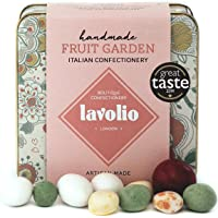 Lavolio Fruit Garden Confectionery - Gift Tin - 175g - Delicious surprises! Real pieces of fruit and nuts wrapped in white and dark chocolate. Perfect Present for Him or Her.