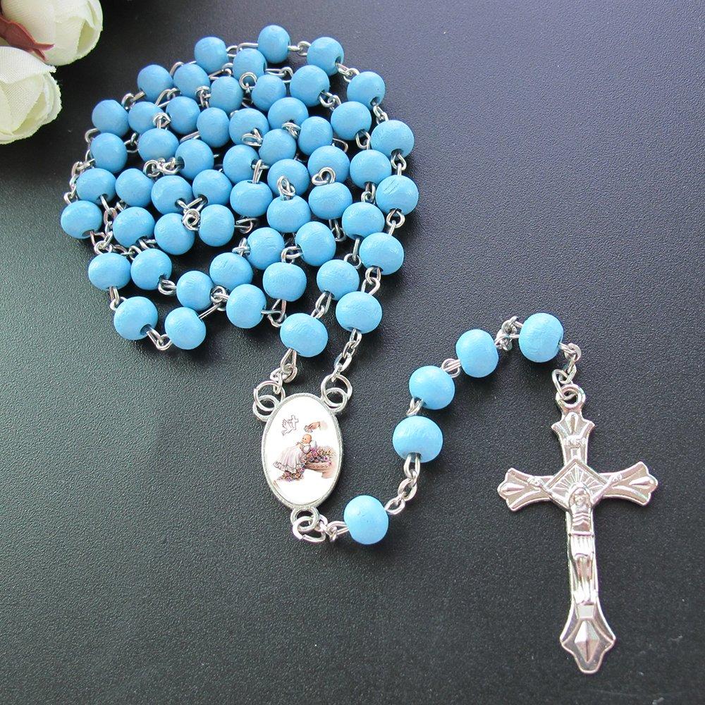 Baby Boy Baptism Rose Petal Scented Blue Rosary Favor - 12 PCS Wood Rosaries with Individual Gift Box and Bags/Recuerdos de mi Bautizo