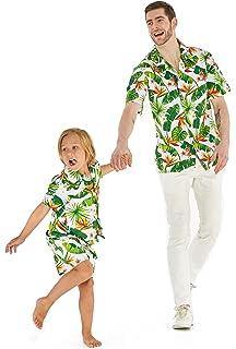 4deaef56 Matching Father Son Hawaiian Luau Outfit Men Shirt Boy Shirt Shorts Classic  White Flamingo