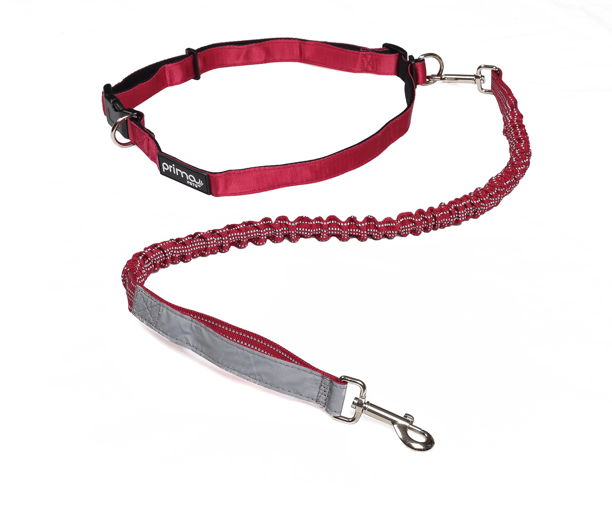 Prima Pet Hands Free Dog Leash - Padded Adjustable Waistband & Reflective Stitching- Perfect for Running, Walking, Jogging, Hiking (RED, 36 inch Bungee)