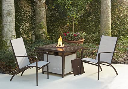 Superb Cosco Outdoor Conversation Set 3 Piece Including Propane Fire Pit Table Tan Sling Chairs Brown Mixed Media Frame Squirreltailoven Fun Painted Chair Ideas Images Squirreltailovenorg