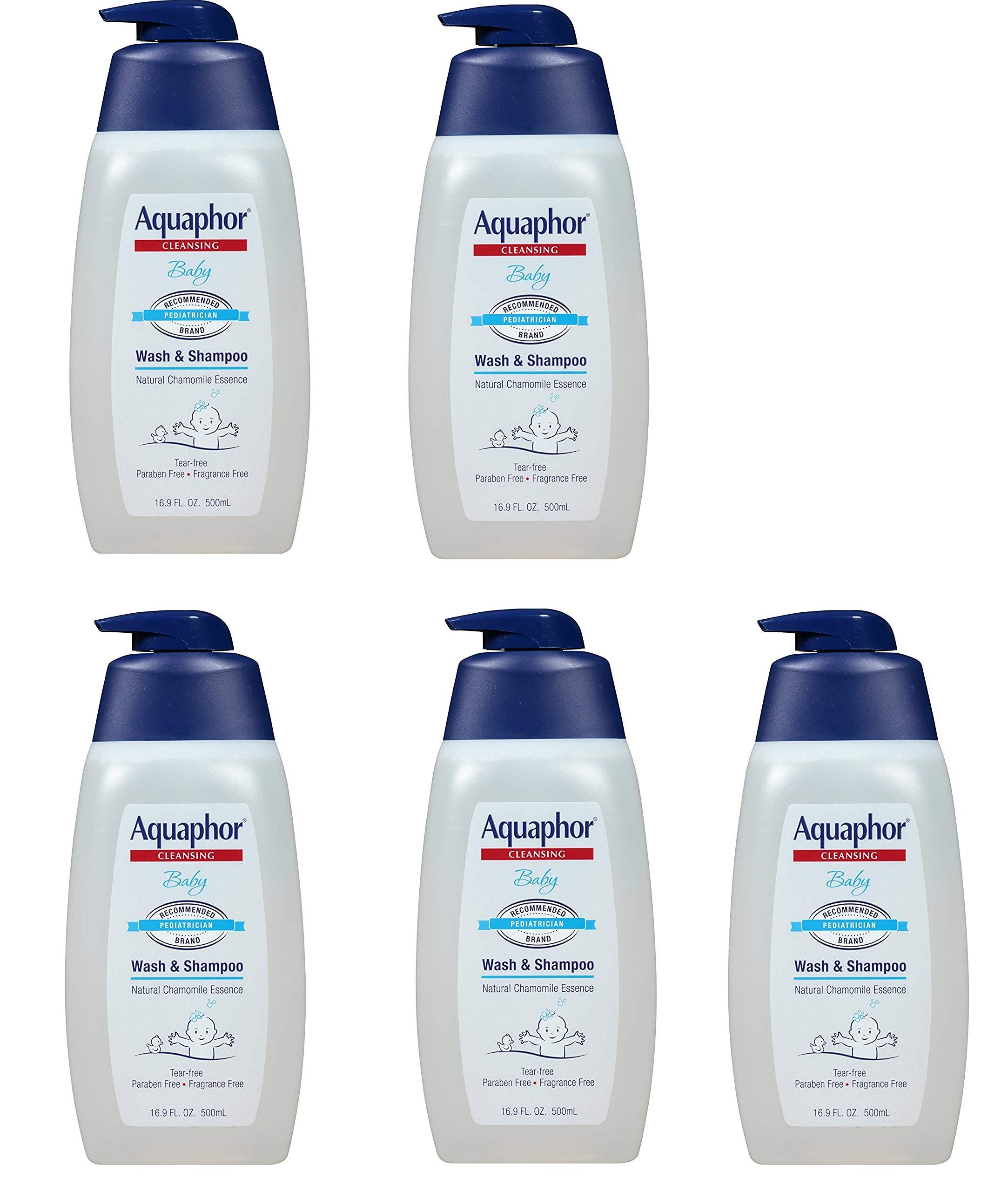 Aquaphor Baby Wash and Shampoo - Mild, Tear-free 2-in-1 Solution for Babyâ€s Sensitive Skin - 16.9 fl. oz. Pump, 5 Pack by Aquaphor