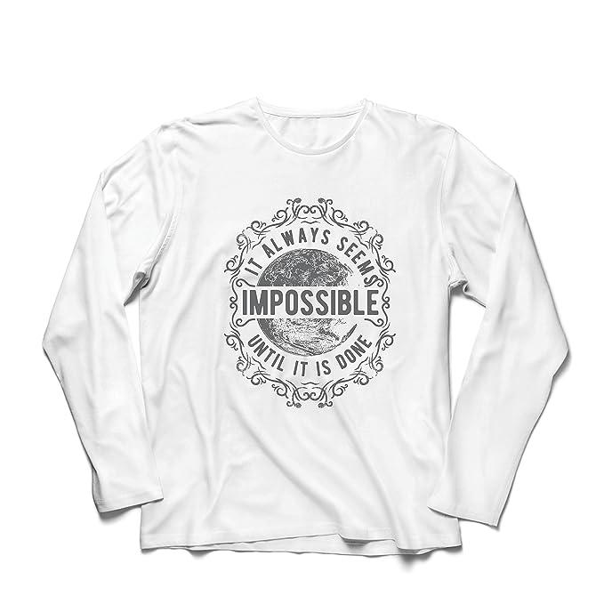 lepni.me Camiseta de Manga Larga para Hombre Nunca Te Rindas - Siempre Parece Imposible hasta Que Se Haga, Motivacional - Citas Inspiradoras: Amazon.es: ...