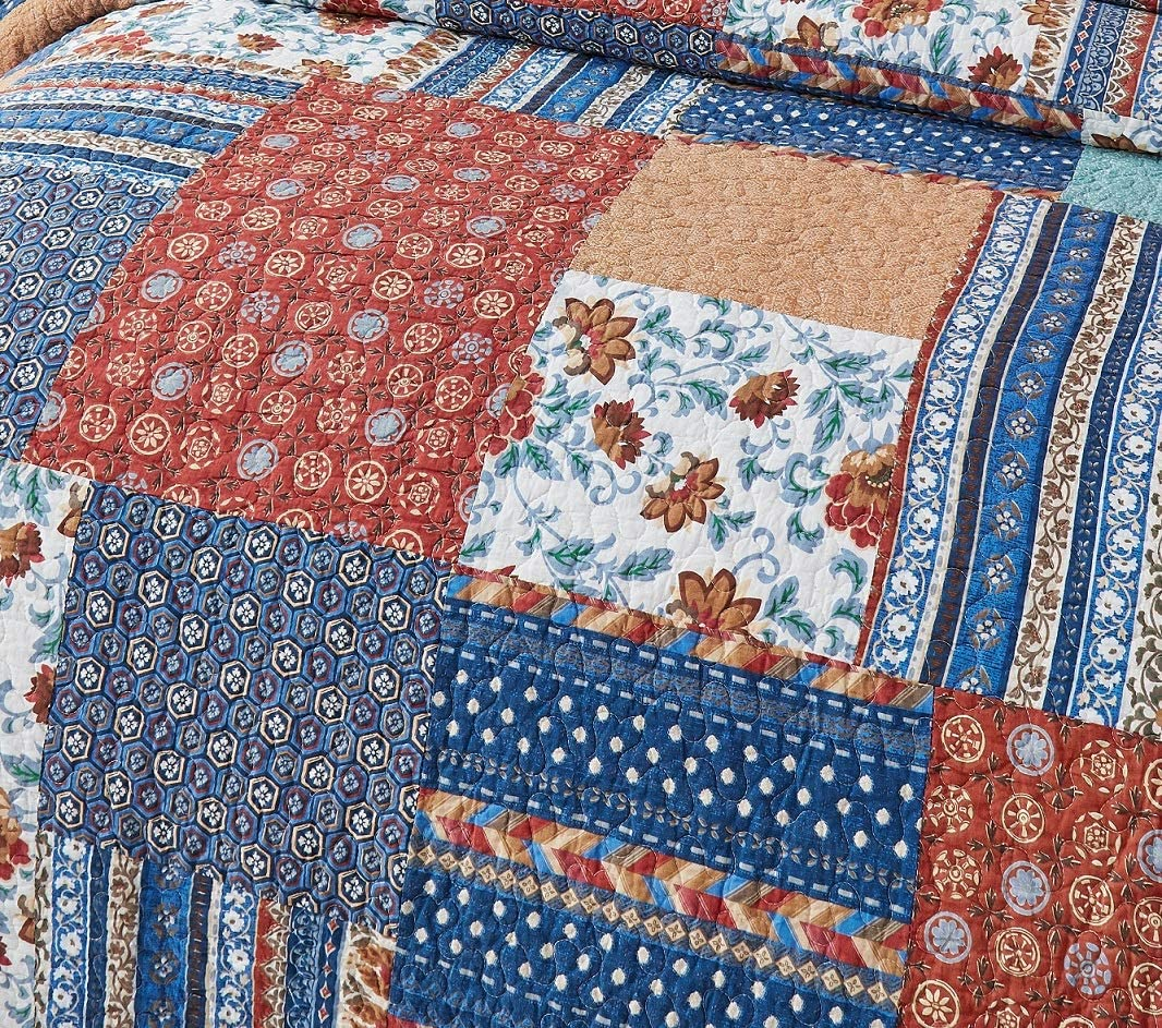 DaDa Bedding Bohemian Vibes Patchwork Bedspread Queen 3-Pieces JHW-878-Q Bright Vibrant Multi-Colorful Mediterranean Floral Quilted Set Deep Blue /& Brick Red