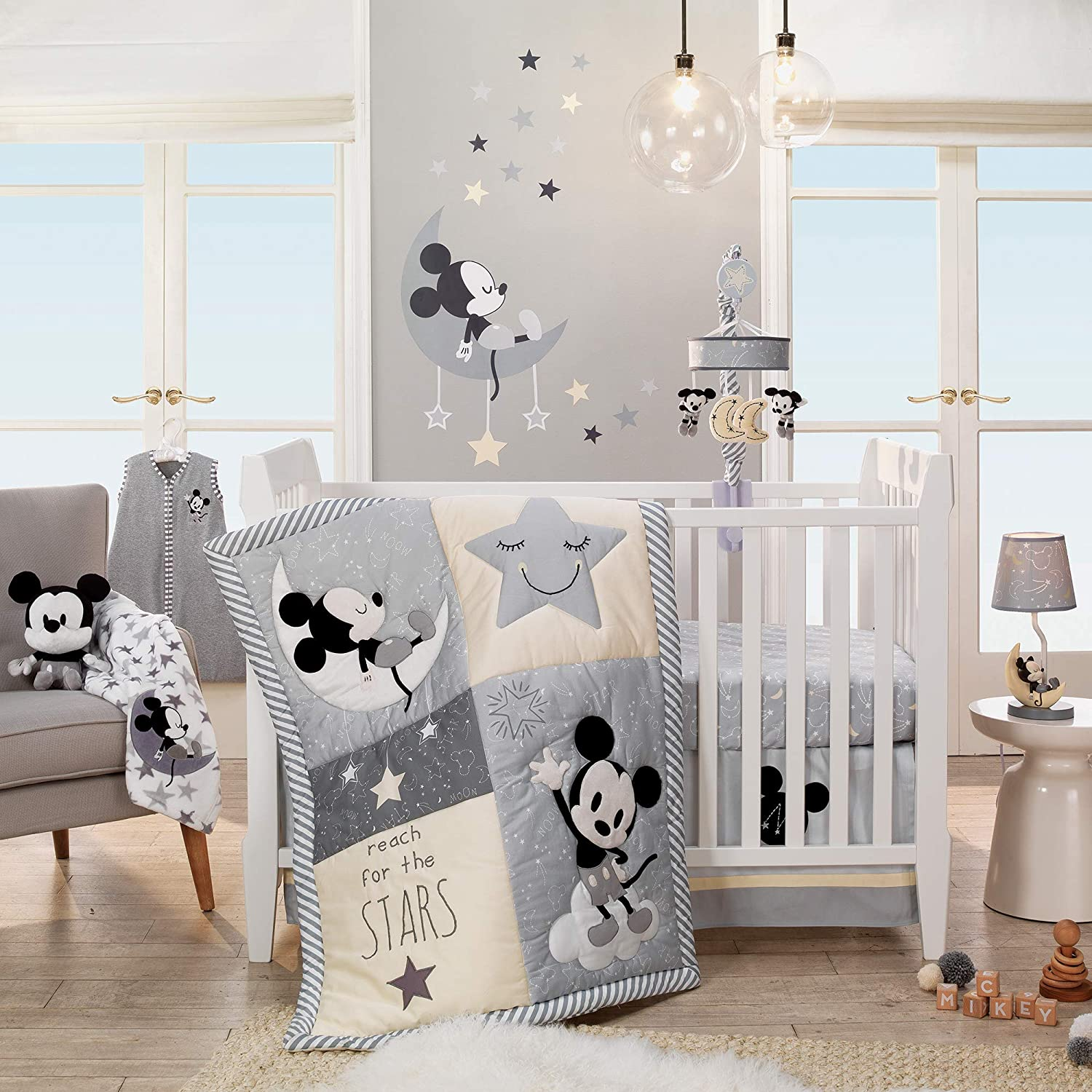 Gray//Yellow Lamb /& Ivy Disney Baby Mickey Mouse Lamp with Shade /& Bulb