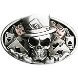 B70 Boucle de ceinture Skull Poker carte à jouer