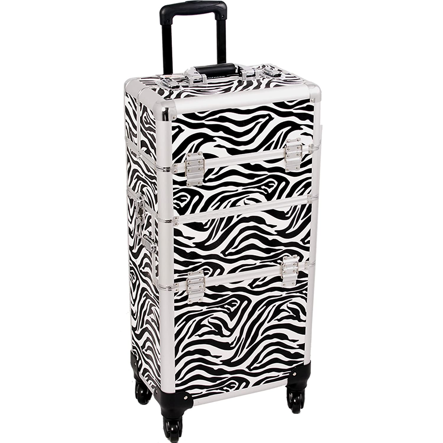 SUNRISE Makeup Case on Wheels 2 in 1 I3561 Hair Stylist Professional, 3 Trays and 1 Removable Tray, Locking with 2 Mirrors, Brush Holder and Shoulder Strap, White Zebra