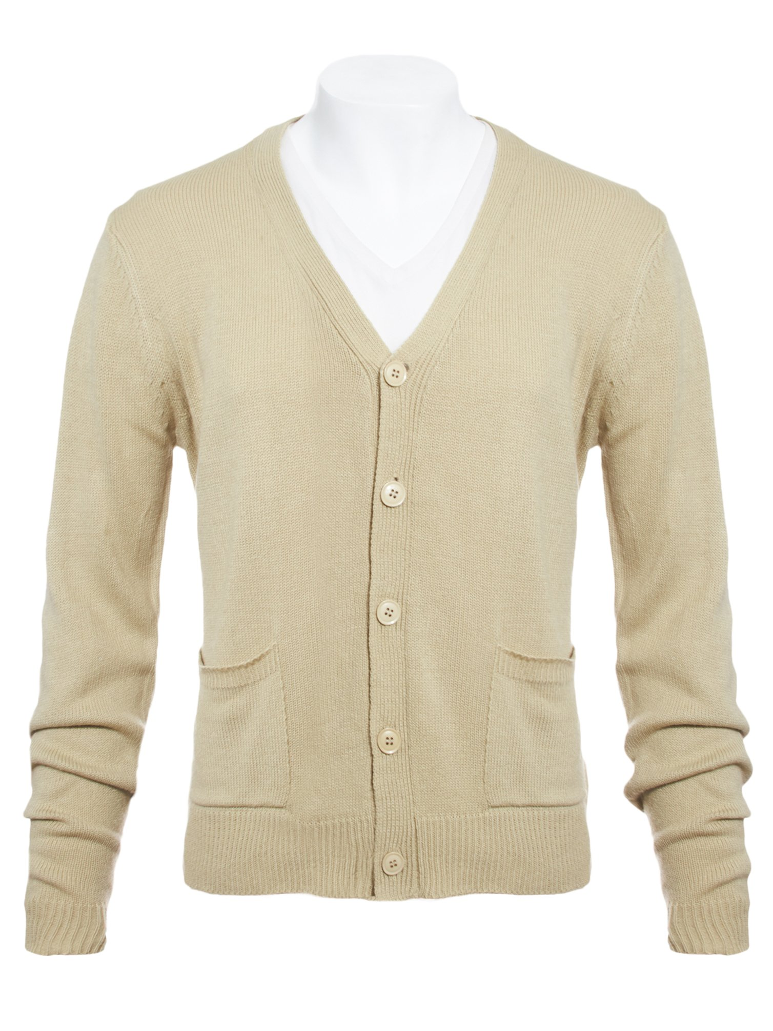 Knit Minded Mens Flat Knit Two Pocket Cardigan Taupe S