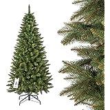 FAIRYTREES sapin arbre de Noêl artificiel SLIM, Epicéa Naturel, tronc vert, matière PVC, socle en métal, 180cm