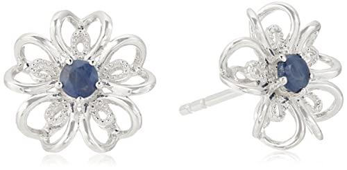 bd0c90936 Image Unavailable. Image not available for. Color: Sterling Silver Genuine  Blue Sapphire Stud Earrings