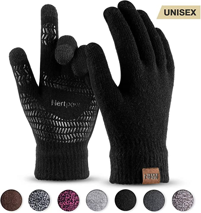 Winter Men Women Warm Fleece Knitted Thermal Touch Screen Driving Gloves