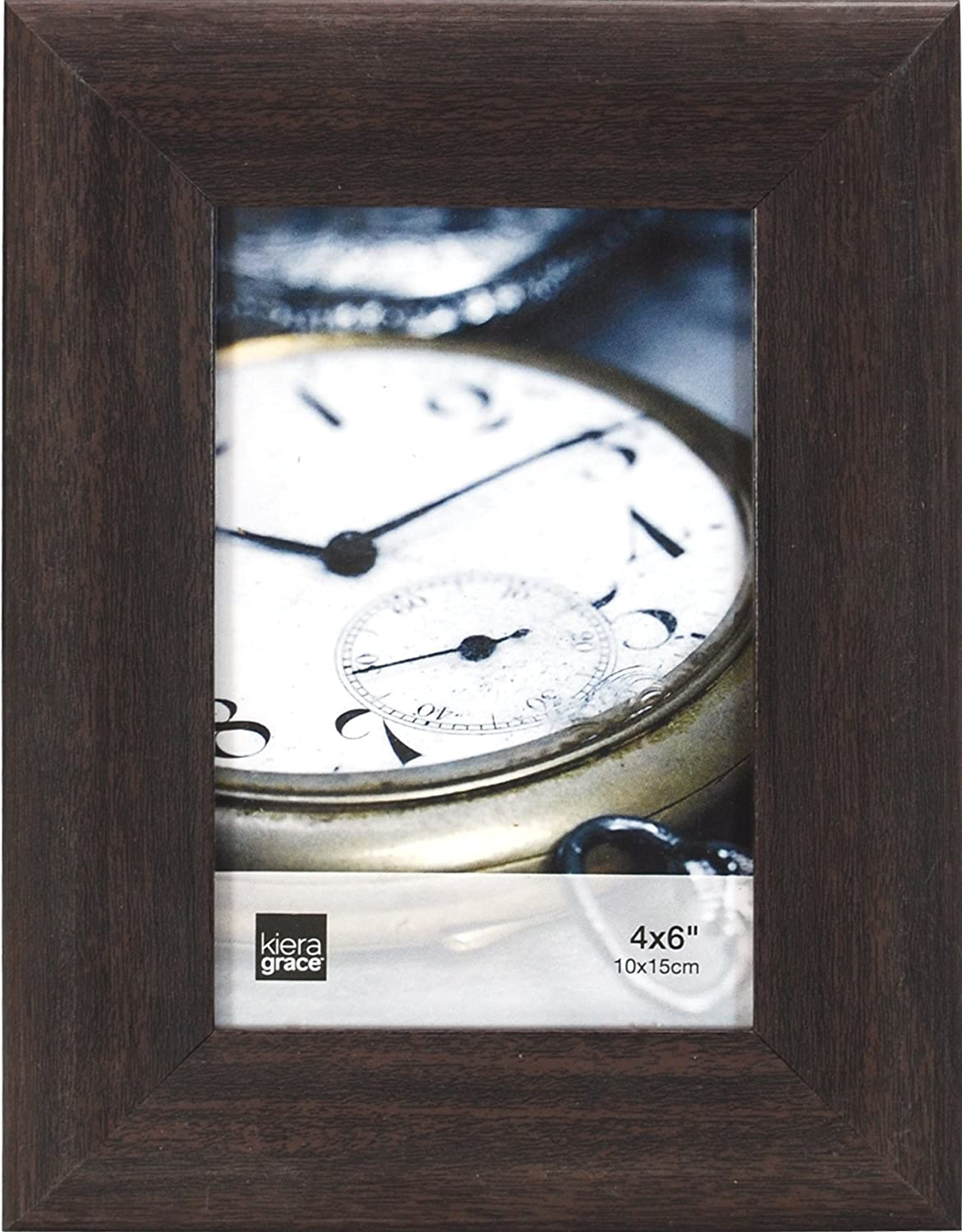 Kiera Grace Gable Picture Frame, 4 by 6-Inch, Wood Grain Espresso Look Textured Finish AZ Home and Gifts PH44092-1