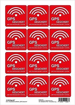 Gps Tracker Aufkleber Gps Gesichert 40x40 Mm Auf Bogen á 12 Stück Wetter Und Uv Beständig Bürobedarf Schreibwaren