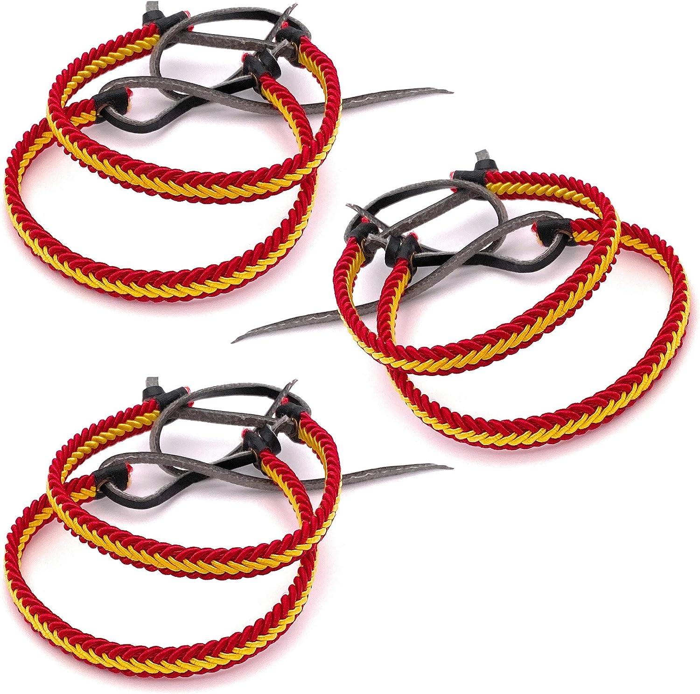 MovilCom® Pack de 6 Pulseras Pulsera de Cuero e Hilo Trenzado Colores Bandera ESPAÑA 6 Unidades: Amazon.es: Joyería
