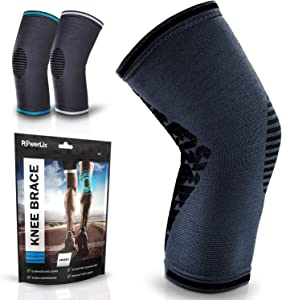 POWERLIX Knee Compression Sleeve for Men & Women – Best Knee Brace for Knee Pain Relief & Injury Recovery - Knee Support for Working out, Running, Weightlifting, Sports – Please Check Sizing Chart