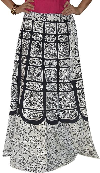 Impreso indio falda larga Wrap Around Ropa étnica de la falda de ...