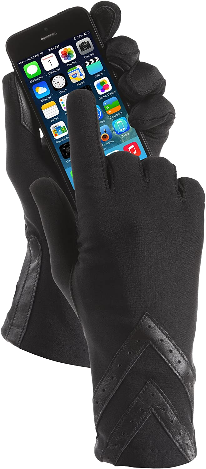 isotoner Women's Spandex Touchscreen Gloves with Fleece Lining and Chevron Details at  Women's Clothing store