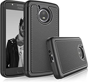 Tekcoo for Moto E4 Case, for 2017 Motorola Moto E 4th Generation Sturdy Case,[Tmajor] Shock Absorbing [Black] Rubber Silicone & Plastic Scratch Resistant Bumper Grip Rugged Hard Cases Cover