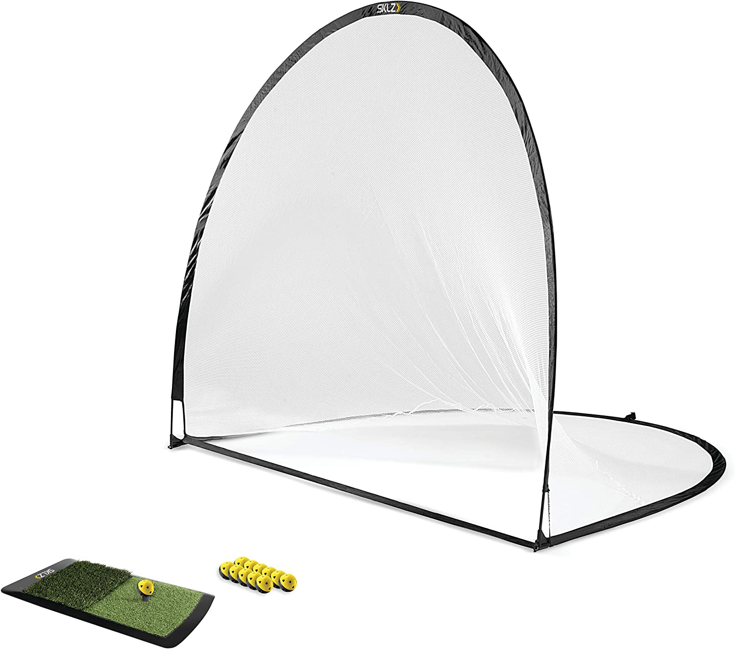 SKLZ Home Golf Driving Range Kit with Net, Golf Balls, Launch Pad, and Tees