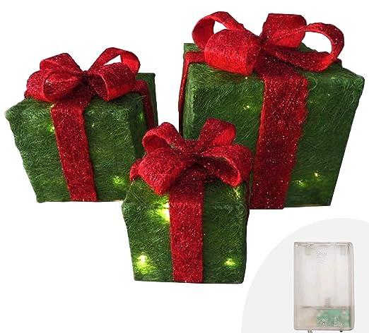 Caja de regalo con purpurina, juego de 3, paquetes verdes con lazo rojo,