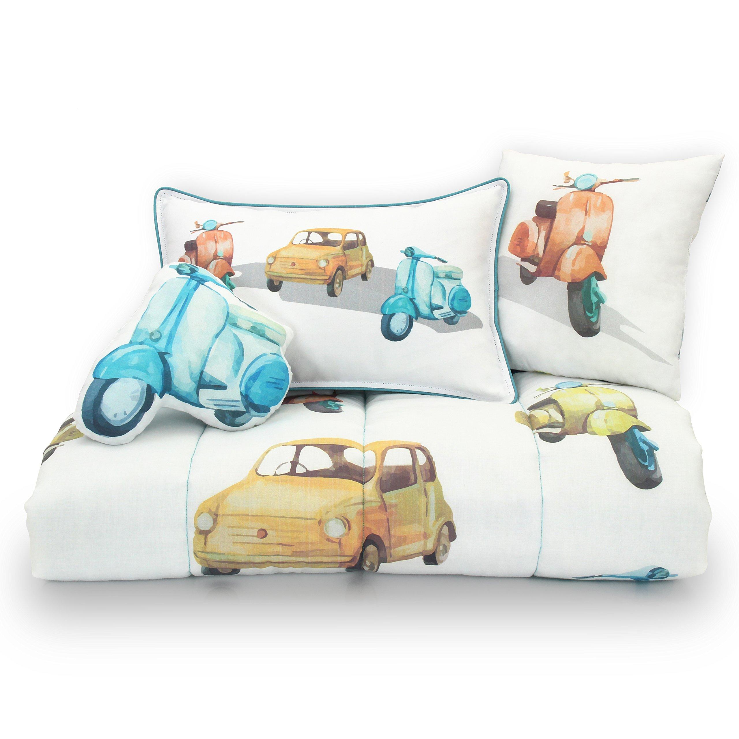 Lincove 4 Piece Toddler Crib Bedding Set - 100% Cotton Vintage Cars Toddler Crib Bed Set - Reversible Quilt 47'' x 39''