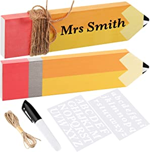 6 Pieces Pencil Teacher Name Plates Set Wooden Teacher Desk Name Sign with White Letter Template Black Marker and Brown Rope for Teacher Appreciation Present Classroom School Desk Decor