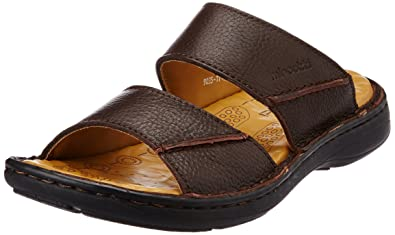 52d18dbac7b Miraatti Men s Coffee leather Sandals and Floaters - 11 UK (9035-29 ...