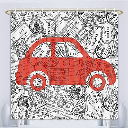 Unique Custom Shower Curtains Cartoon Little Car With Travel Themed Passport Stamps Background Abstract Design Red