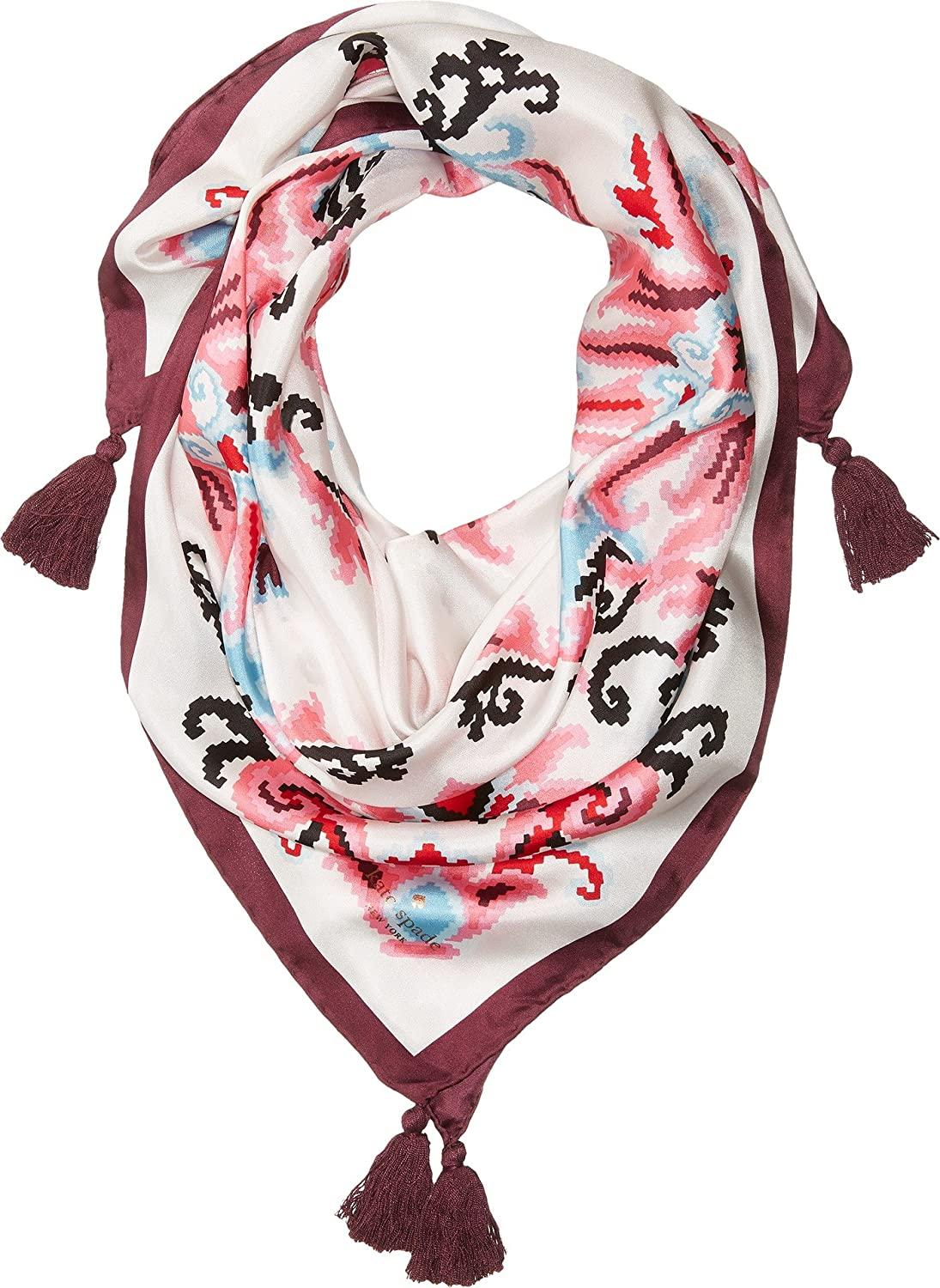 Kate Spade New York Women's Tapestry Silk Square Scarf Black One Size
