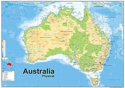 Cartina Fisica Dell Australia.Australia Mappa Fisica Vinyl A1 Misura 59 4 X 84 1 Cm