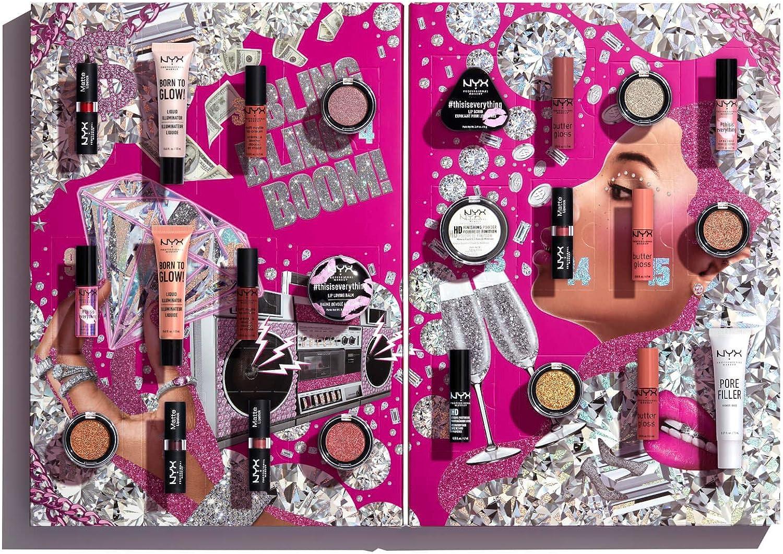 NYX Professional Makeup Calendario de Adviento de Maquillaje Diamonds and Ice, Please, 24 Productos, Incluye Maquillaje para Ojos, Labios y Rostro